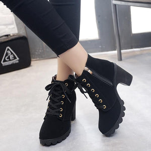 Ankle boots for women 2020 new elegant square heel shoes woman high heel solid vintage boots women lace-up ladies shoes - ladystreets