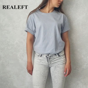 REALEFT 2020 New Summer Solid Short Sleeve Women's T-Shirts Simple Multi Color Cotton O-Neck Casual Loose Shirts Tops Tee Ladies