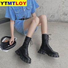 Load image into Gallery viewer, Sping Women White Boots Autumn Fashion Black Leather Platform Gothic Boots Punk Combat Boots for Women - ladystreets