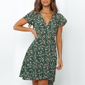 Women V Neck Floral Print Dress Summer Casual Short Sleeve Mini Beach Dress Bandage Wrap Dresses Sundress Vestidos Mujer XS-L