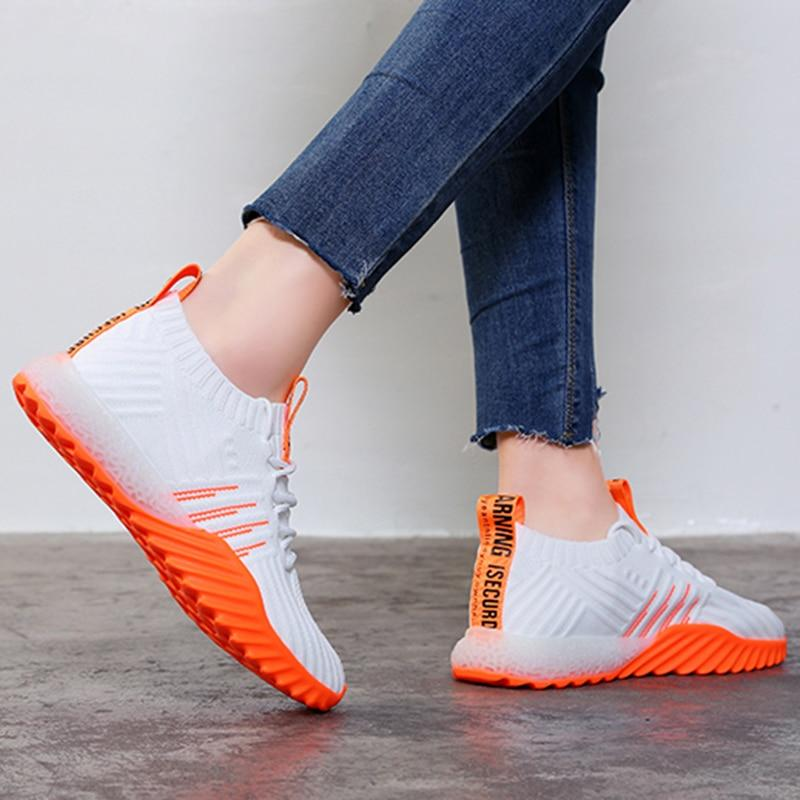 Platform Sock Women Black Orange Green White Sneakers Chunky Shoes Mesh Tennis Trainers Casual Shoes - ladystreets