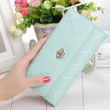 Load image into Gallery viewer, Women Girl Rhombus Pattern Long Wallet for Party Metal Hearts Crown Lady Purse Womens Handbag Shoulder Wallets - ladystreets