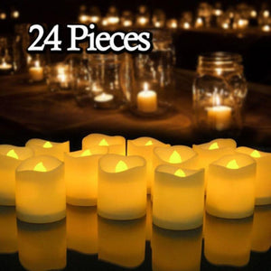 12/24Pcs Creative LED Candle Lamp Battery Powered Flameless Tea light Home Wedding Birthday Party Decoration Supplies Dropship - ladystreets