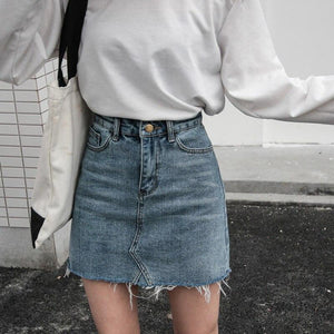 Casual High Waist Pencil Denim Skirts Women Summer Black Blue Solid Pockets Button All-matched Jeans Skirt - ladystreets