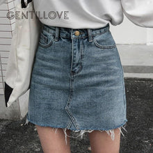 Load image into Gallery viewer, Casual High Waist Pencil Denim Skirts Women Summer Black Blue Solid Pockets Button All-matched Jeans Skirt - ladystreets