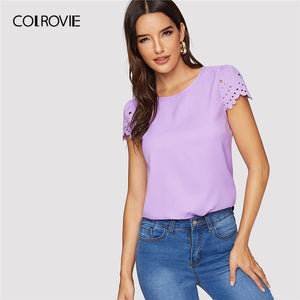 Yellow Scallop Laser Cut Cap Sleeve Hollow Out Button Casual Women Blouse Shirt Summer Female Blouse And Tops