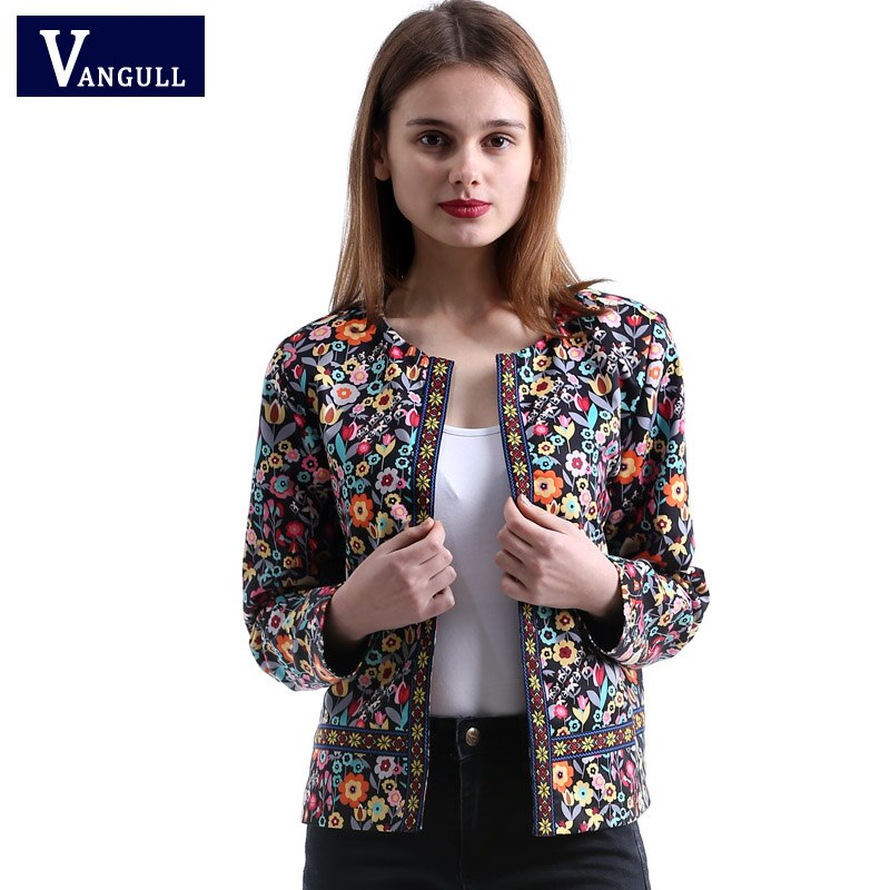 Vangull 2018 New Spring Botanical Jacket Autumn Basic Jacket for Women Multicolor Collarless Elegant Jackets and Coats Feminina