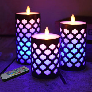Dancing Flame Pillar Led Wax Candle With RGB Remote,Electric Candle Night light for kids living room,Home Decor. - ladystreets