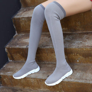 Autumn Boots Women Sock Shoes Stretch Fabric Shoes Slip-On Over the Knee Boots Women's Pumps Boots for Women 2020 botas de mujer - ladystreets