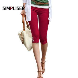 Summer Capri Leggings For Women 2019 Red Black White Stretch Pencil Pants Ladies Casual Skinny Trousers Plus Size 4xl Trousers - ladystreets