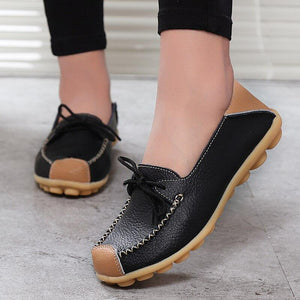 Women Geniune Leather Shoes Moccasins Mother Loafers Soft Leisure Flats Female Casual Footwear 2019 Spring New Arrival - ladystreets