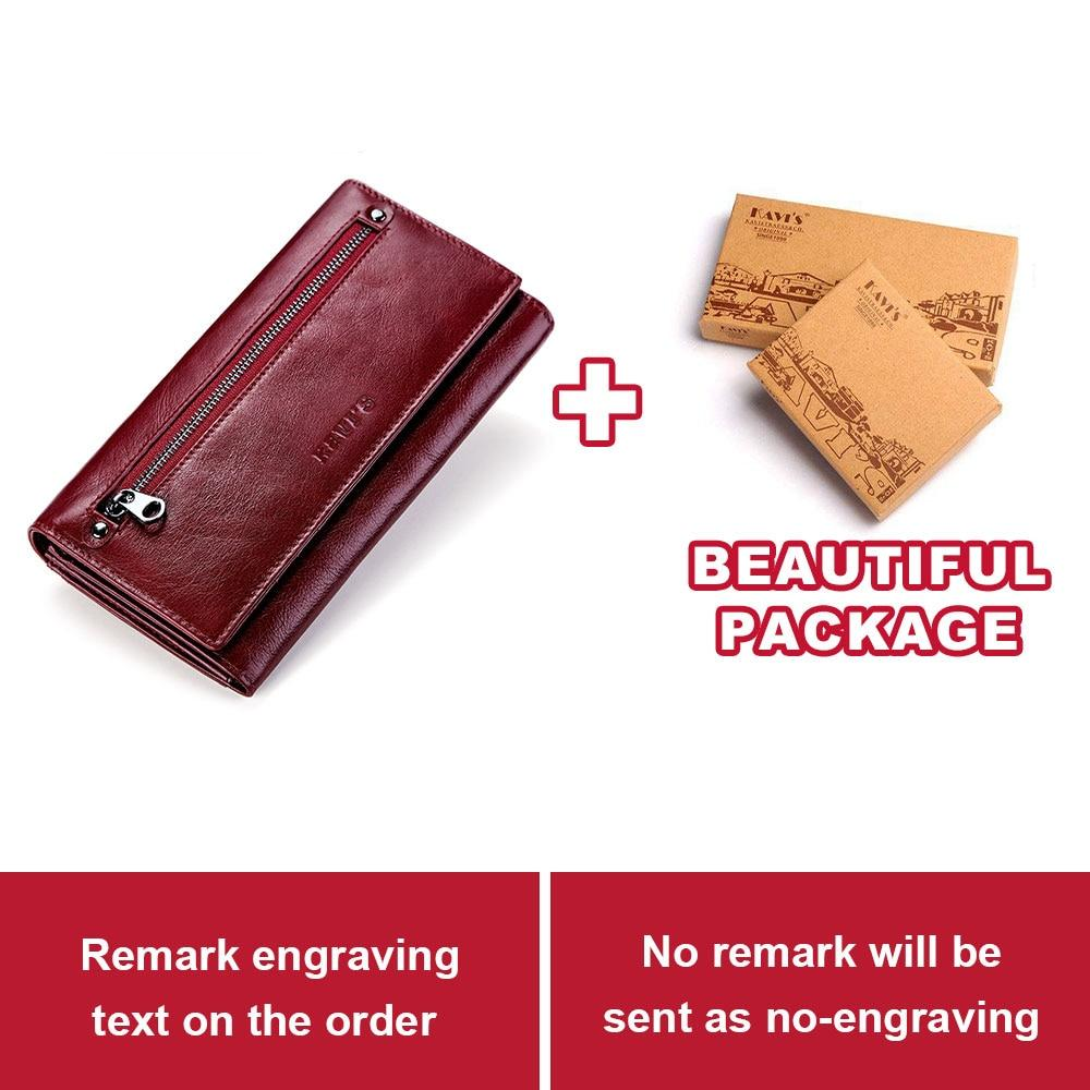 KAVIS Free Engraving Genuine Leather Women Wallet and Purse Female Coin Purse Portomonee Clamp For Money Bag Zipper Handy Perse - ladystreets