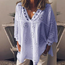Load image into Gallery viewer, Women blouse Hollow Out Lace Patchwork tops women plus size 5xl Geometry v-neck summer Shirt vrouw Blouse large sizeTops#G8