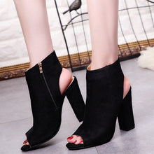 Load image into Gallery viewer, Fashion Women\'s Peep Toe Summer Open Toe Pumps Casual Faux Suede Ankle Boots Thick High Heels Peep Toe Women Pumps sandals - ladystreets