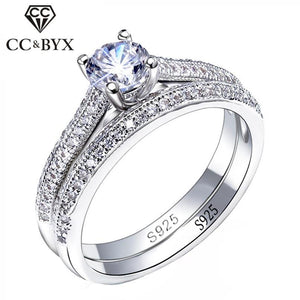 CC 925 Silver Rings For Women Simple Design Double Stackable Fashion Jewelry Bridal Sets Wedding Engagement Ring Accessory CC634 - ladystreets
