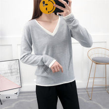 Load image into Gallery viewer, spring and autumn Cashmere Sweater Women 2019 V-neck Knitted Pullover Female Soft Cashmere Jumper Casual Sweaters