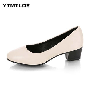 Women's 5cm High Heels Pumps Office Lady Women Shoes Sexy Bride Party Thick Heel Round Toe Leather Zapatillas Mujer Wedges - ladystreets