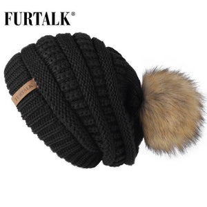 FURTALK Autumn Winter Beanie Hat for Women Knitted Pompom Hat Slouchy Beanie Skullies for Female Black Red Yellow bonnet Cap - ladystreets