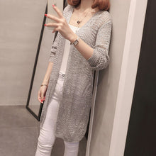 Load image into Gallery viewer, Long Causal Cardigan Sweaters Women Hollow Out Knitted Summer Knitwear Ladies V-Neck Girls Cardigans Long Sleeve Jumper Female