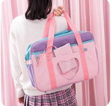 Load image into Gallery viewer, Preppy Style Pink Travel Shoulder School Bags For Women Girls Canvas Large Capacity Casual Luggage Organizer Handbags Totes - ladystreets