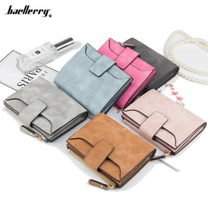 New Leather Women Wallet Hasp Small and Slim Coin Pocket Purse Women Wallets Cards Holders Luxury Brand Wallets Designer Purse - ladystreets