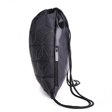 Load image into Gallery viewer, New Women Luminous Drawstring Backpacks Fold Shoulder Bags Beach Bag Girls Geometric Bagpack Holographic Backpack Purse Mochila - ladystreets