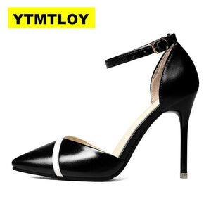 Women Shoes Pointed Toe Pumps Patent Leather Dress Shoes High Heels Boat Shoes Wedding Shoes Zapatos Mujer Fight color - ladystreets