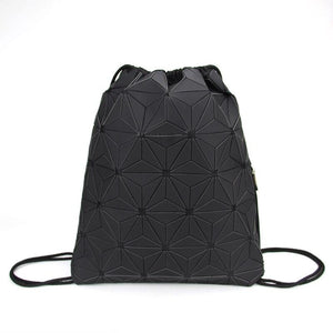 New Women Luminous Drawstring Backpacks Fold Shoulder Bags Beach Bag Girls Geometric Bagpack Holographic Backpack Purse Mochila - ladystreets