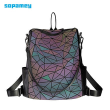 Load image into Gallery viewer, New Women Luminous School Backpack For Teenage Girls Fold Geometry Schoolbags Backpack Holograph School Bags bag pack Mochila - ladystreets