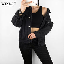 Load image into Gallery viewer, Wixra Casual Classic Solid Color Denim Jackets 2019 Spring Autumn Casual Single Breasted Turn-Down Collar Jacket For Women
