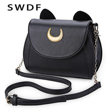 Load image into Gallery viewer, SWDF Summer Sailor Moon Ladies Handbag Black Luna Cat Shape Chain Shoulder Bag PU Leather Women Messenger Crossbody Small Bag - ladystreets