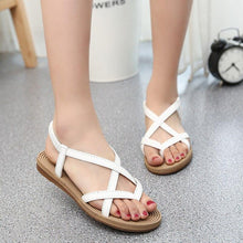 Load image into Gallery viewer, Yu Kube Summer Shoes Woman Sandals Elastic Flat Sandalias Mujer 2020 Strappy Gladiator Beach Sandals Ladies Flip Flops White - ladystreets