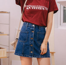 Load image into Gallery viewer, Denim Skirt High Waist A-line Mini Skirts Women 2020 Summer New Arrivals Single Button Pockets Blue Jean Skirt Style Saia Jeans - ladystreets
