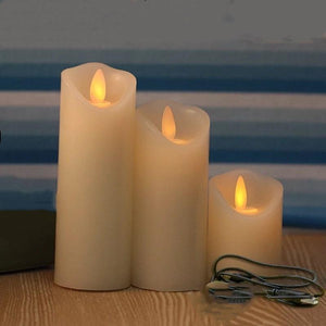 set of 3 USB powered Rechargeable led pillar paraffin candle wavy edge moving wick Wedding Xmas Party bar decor 10CM-12.5CM-15CM - ladystreets