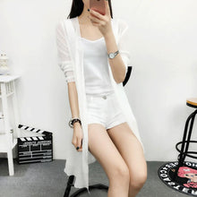 Load image into Gallery viewer, Summer Chiffon Blouse Pink Cardigan Sun Protection clothing Long Blouse Beach White female Fashion Tops Feminino