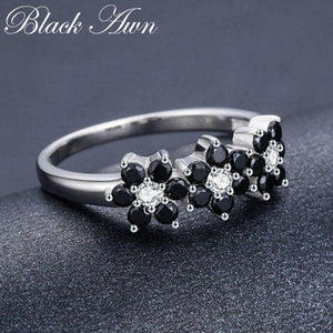 925 Sterling Silver Fine Jewelry Flower Bague Black Spinel Wedding Rings for Women Girl Party Gift C464 - ladystreets
