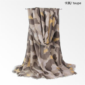 LaMaxPa New Arrival Women Cotton Scarf Leopard Print Pattern Luxury Shawls Tassel Long Wraps Foulard Femme Autumn Soft Pashmina - ladystreets