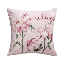 Load image into Gallery viewer, Cotton Linen Pillow Cover Country Style Peony Floral Pink Tulip Cushion Cover Home Decorative Pillow Case 45x45cm/60x60cm - ladystreets