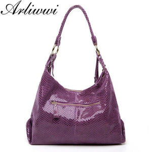 Arliwwi Brand Real Soft Suede Cow Leather Lady Crossbody Tassel Handbags shiny Snake Grain Embossed shoulder Tote Bags For Women - ladystreets