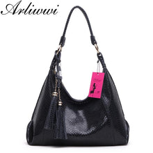 Load image into Gallery viewer, Arliwwi Brand Real Soft Suede Cow Leather Lady Crossbody Tassel Handbags shiny Snake Grain Embossed shoulder Tote Bags For Women - ladystreets