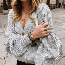 Load image into Gallery viewer, Simenual Casual Fashion Knitted Cardigans Sweater Women Solid Basic Autumn Winter Jumpers 2019 Long Sleeve Button V Neck Sweater
