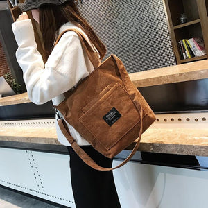 Women Corduroy Zipper Shoulder Bag Cotton Canvas Handbag Casual Tote Female Eco Crossbody Bag Ladies Vintage Messenger Bags - ladystreets