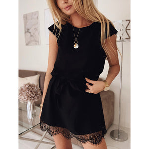 New elegant ladies casual dress fashion lace short-sleeved dress three-color optional large size dress