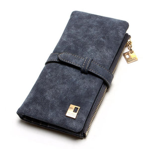 New Fashion Women Wallets Drawstring Leather Zipper Wallet Women's Long Design Purse Two Fold More Color Clutch - ladystreets