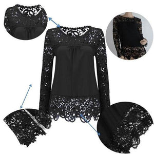 Plus Size S-7XL Fashion Women's Blouse Summer Openwork Hollow Long Sleeve Tops Embroidery Lace Flower Crochet Chiffon Shirts