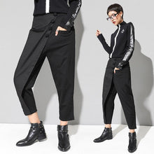 Load image into Gallery viewer, XITAO Black Tide Long Harem Pants Women Elastic Waist Button Fly Casual Modis Front Patchwork Female Trouser 2019 Autumn LJT3926 - ladystreets