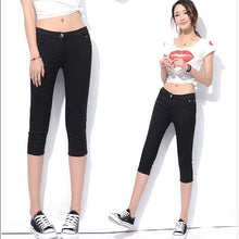 Load image into Gallery viewer, Women's Capris Summer Pants For Women Candy Pantalon Femme High Waist Black Short Trousers Summer Capris Pants Women Stretch - ladystreets