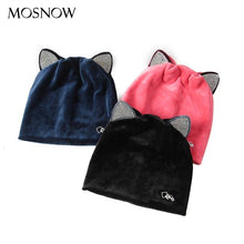 Load image into Gallery viewer, Cute Cat Ear Beanie For Women Fashion Brand Flannel Hat High Quality Warm Cap Winter Skullies Beanies Bonnet Femme - ladystreets
