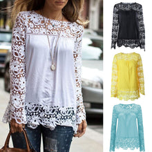 Load image into Gallery viewer, Plus Size S-7XL Fashion Women's Blouse Summer Openwork Hollow Long Sleeve Tops Embroidery Lace Flower Crochet Chiffon Shirts