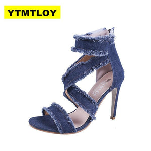 Peep Toe Gladiator Shoes Women Pumps Denim High Heels Cutout Stiletto Zip Thin Heels Party Shoes Blue Super High - ladystreets
